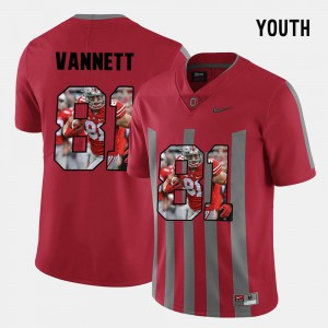 Youth(Kids) Ohio State #81 Nick Vannett Red Pictorial Fashion Jersey 234382-931