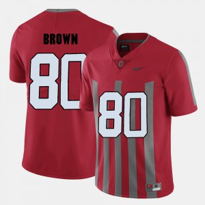 Men's Ohio State #80 Noah Brown Red College Football Jersey 464111-546