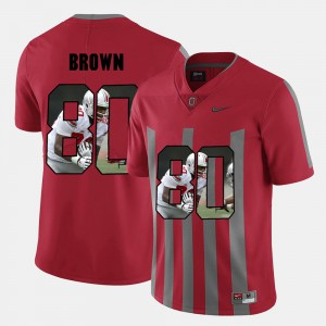 Men Ohio State Buckeyes #80 Noah Brown Red Pictorial Fashion Jersey 380667-209