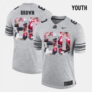 For Kids Buckeyes #80 Noah Brown Gray Pictorital Gridiron Fashion Pictorial Gridiron Fashion Jersey 332204-791
