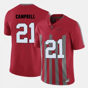 For Men's Ohio State Buckeye #21 Parris Campbell Red College Football Jersey 640974-629