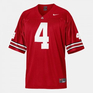 For Men's Ohio State Buckeye #4 Santonio Holmes Red College Football Jersey 771632-162