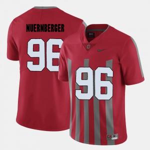 For Men's OSU Buckeyes #96 Sean Nuernberger Red College Football Jersey 807740-323