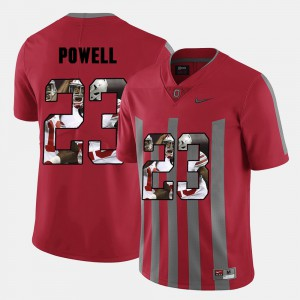 For Men's Ohio State #23 Tyvis Powell Red Pictorial Fashion Jersey 172661-808