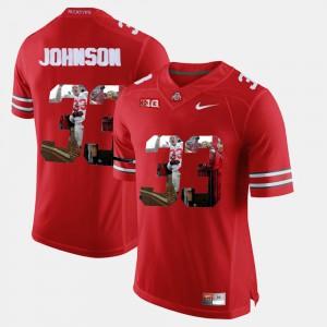 Men Buckeyes #33 Pete Johnson Scarlet Pictorial Fashion Jersey 764485-344
