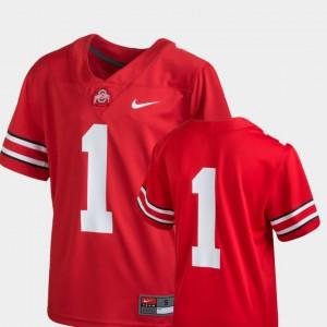 Kids Buckeyes #1 Scarlet College Football Team Replica Jersey 558926-309