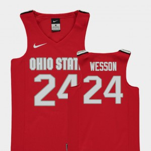 Youth Ohio State Buckeye #24 Andre Wesson Red Replica College Basketball Jersey 236629-154