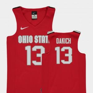 For Kids Buckeyes #13 Andrew Dakich Red Replica College Basketball Jersey 672842-205