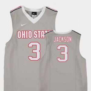 Youth(Kids) OSU Buckeyes #3 C.J. Jackson Gray Replica College Basketball Jersey 371464-324