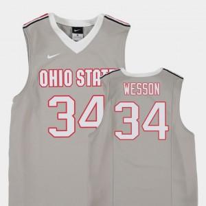 Kids OSU #34 Kaleb Wesson Gray Replica College Basketball Jersey 226433-964