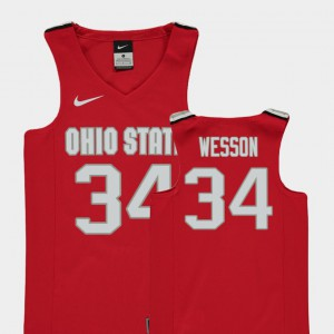 Youth Ohio State #34 Kaleb Wesson Red Replica College Basketball Jersey 731094-901