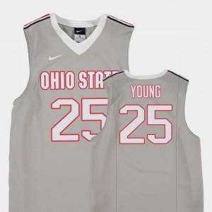 Youth Buckeye #25 Kyle Young Gray Replica College Basketball Jersey 257976-755