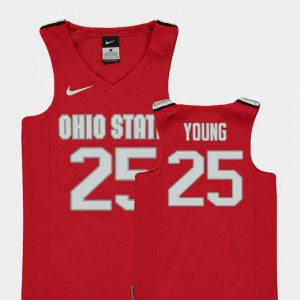 Youth(Kids) Ohio State #25 Kyle Young Red Replica College Basketball Jersey 326831-543