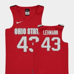 Youth Buckeyes #43 Matt Lehmann Red Replica College Basketball Jersey 941860-472