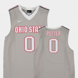 Youth Ohio State #0 Micah Potter Gray Replica College Basketball Jersey 388324-559
