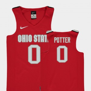 For Kids Ohio State Buckeye #0 Micah Potter Red Replica College Basketball Jersey 860180-589