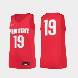 Youth(Kids) Ohio State Buckeye #19 Scarlet Replica College Basketball Jersey 480130-423
